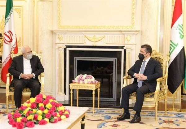 تأکید ظریف و شادمان بارزانی بر عدم اجازه به اقدامات ضد ایرانی در کردستان عراق