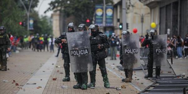 درگیری در تظاهرات ضد دولتی در مرکز کلمبیا